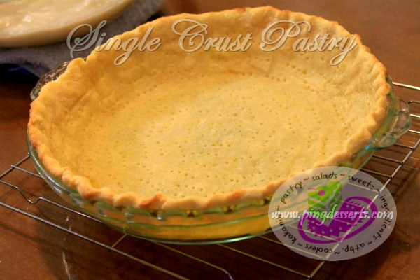 Single Crust Pastry Recipe